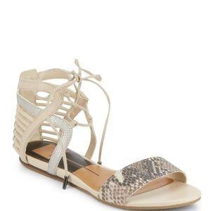 Dolce Vita Addison Snake-Print Lace-Up Sandals